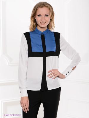 Блузка MONDIGO. Цвет: синий, белый, черный