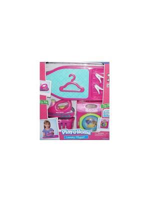 Игровой набор Прачечная(стиральная машинка, гладильная доска, утюг, корзина для белья) Keenway. Цвет: розовый