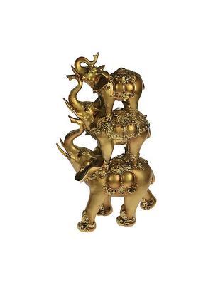 Фигурка декоративная Три слона Русские подарки. Цвет: золотистый, кремовый