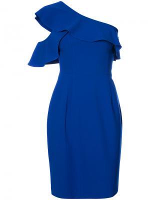 Платье с оборками на одно плечо Black Halo. Цвет: синий