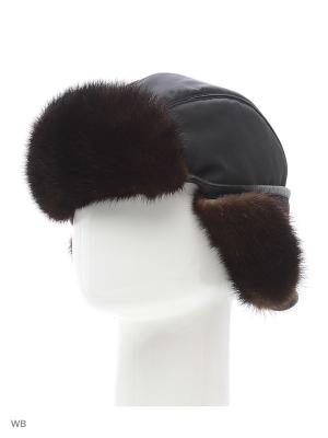 Зимняя шапка ПИЛОТ  мужская, сделана из меха норки и плащевой ткани, цвет: черный натуральный. Mex-Style. Цвет: серо-коричневый