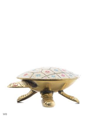 Шкатулка Черепаха латунь цветная эмаль ETHNIC CHIC. Цвет: голубой, фуксия, золотистый, белый