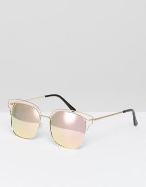 AJ Morgan Солнцезащитные очки в прямоугольной металлической оправе с зеркальными. Цвет: золотой