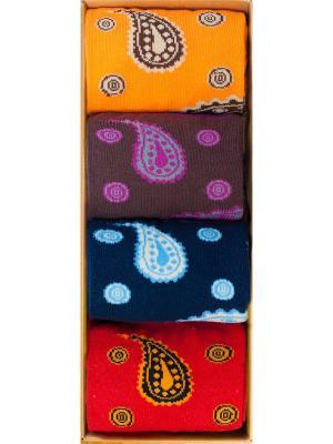 Набор Перо Жар-птицы (4 пары в коробке), дизайнерские носки SOXshop. Цвет: голубой,красный,оранжевый