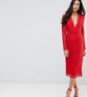 ASOS Tall Кружевное платье-футляр миди с длинными рукавами. Цвет: красный