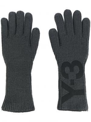 Перчатки с принтом логотипа Y-3. Цвет: серый