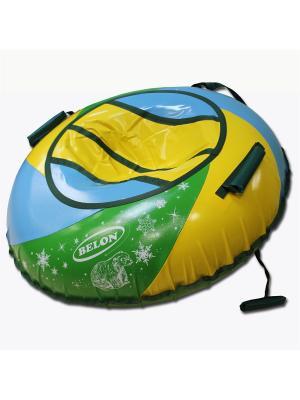 Тюбинг ТЕНТ-СПИРАЛЬ с мягкими ручками Пляж, 100 см Belon. Цвет: синий, желтый, зеленый