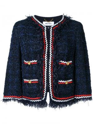 Embroidered blazer Muveil. Цвет: синий