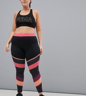 South Beach Спортивные леггинсы с розовыми полосками Plus. Цвет: мульти
