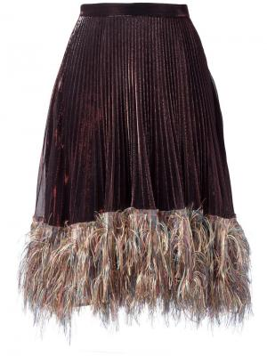 Плиссированная юбка с отделкой металлик Marco De Vincenzo. Цвет: многоцветный