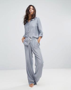 Abercrombie & Fitch Пижамные штаны бойфренда в полоску. Цвет: синий