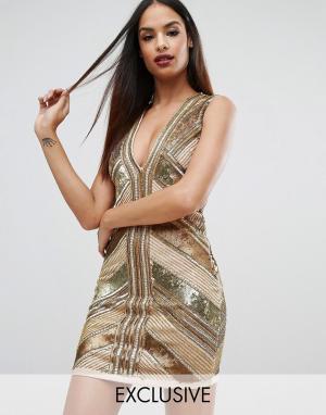 Starlet Платье мини с пайетками. Цвет: золотой