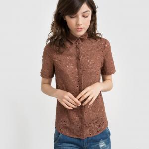 Рубашка с короткими рукавами из шитья La Redoute Collections. Цвет: кирпичный,слоновая кость
