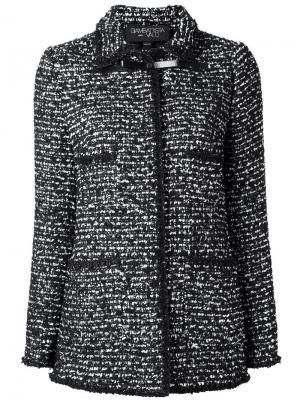 Длинная твидовая куртка Giambattista Valli. Цвет: чёрный