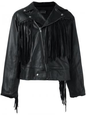 Байкерская куртка с бахромой Aries. Цвет: чёрный