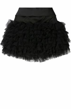Мини-юбка с рюшами и бантом Monnalisa. Цвет: черный