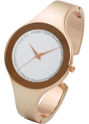Часы на браслете-полукольце со стразами (розово-золотистый) bonprix. Цвет: розово-золотистый