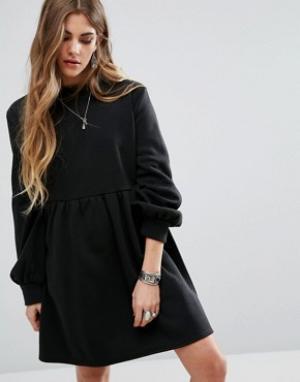Rokoko Свободное трикотажное платье. Цвет: черный