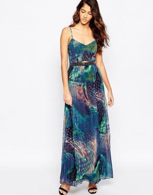 Laced In Love Платье макси с принтом и отделкой на талии. Цвет: принт