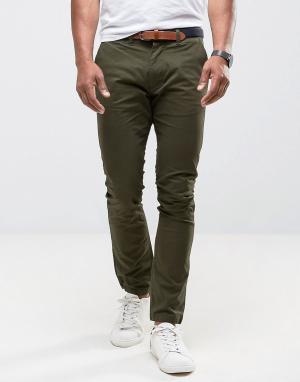 Selected Homme Узкие чиносы с ремнем. Цвет: зеленый