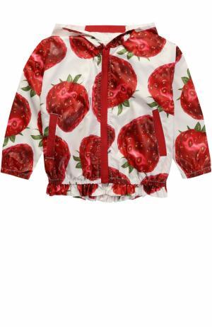 Куртка с капюшоном и принтом Monnalisa. Цвет: красный
