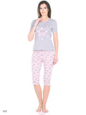Костюм-футболка, капри NAGOTEX. Цвет: серый, розовый