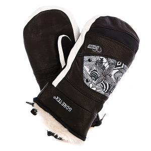 Варежки сноубордические женские  Feva Mitt Gtx Black Pow. Цвет: белый,коричневый