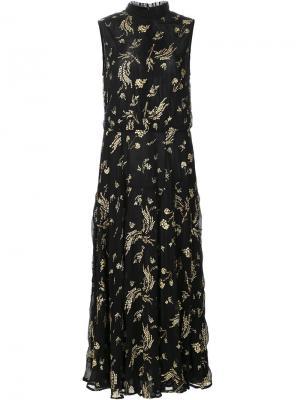 Платье без рукавов с цветочным узором Suno. Цвет: чёрный