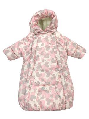 Конверт-комбинезон с ручками Сердца на овчине (зима) СуперМаМкет. Цвет: бледно-розовый