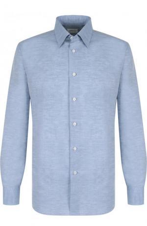 Рубашка из смеси льна и хлопка с воротником кент Brioni. Цвет: голубой