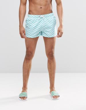 Swells Короткие шорты с крупным принтом зигзаг. Цвет: зеленый