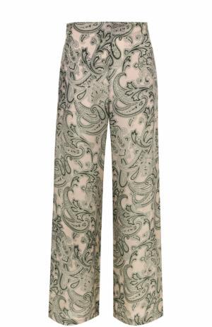 Укороченные широкие брюки с принтом Acne Studios. Цвет: зеленый