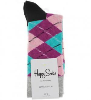 Разноцветные носки в клетку Happy Socks. Цвет: мультиколор