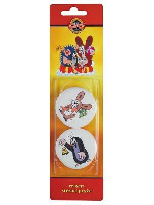 Набор ластиков Крот круглые (d 52 мм, 2штуки) Koh-i-Noor. Цвет: белый