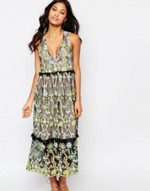 Foxiedox Платье миди с вышивкой Zuma. Цвет: мульти