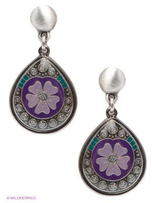 Серьги Clara Bijoux. Цвет: сиреневый, фиолетовый, бежевый, зеленый