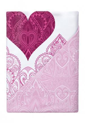 Комплект постельного белья Евро Loveme. Цвет: розовый