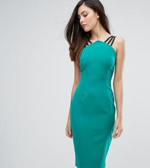 Vesper Платье-футляр с бретельками и молнией на спине. Цвет: зеленый