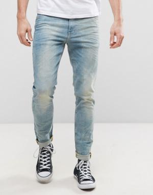 ASOS Выбеленные голубые джинсы скинни плотностью 12,5 унции. Цвет: синий