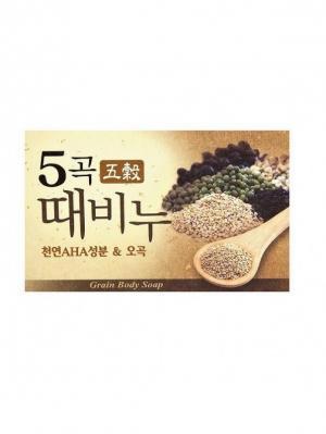 Набор MKH Косметическое мыло-скраб пять злаков, 100 гр. 2 штуки Mukunghwa. Цвет: золотистый