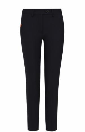 Укороченные шерстные брюки со стрелками Kiton. Цвет: темно-синий
