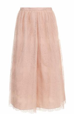 Однотонная кружевная юбка-миди St. John. Цвет: розовый