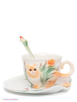 Чайная пара Персидский кот Pavone. Цвет: молочный, зеленый, рыжий