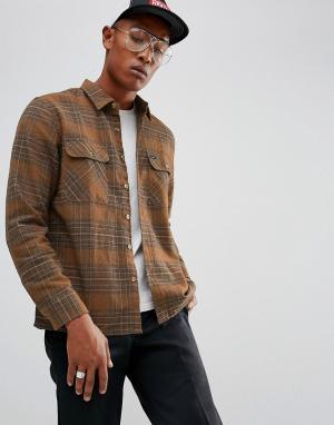 Brixton Фланелевая рубашка в клетку Archie. Цвет: коричневый