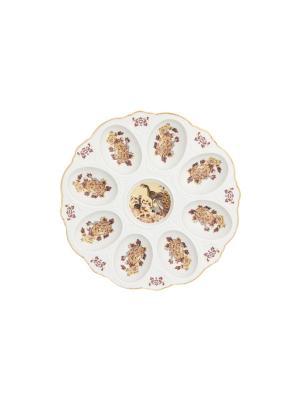 Тарелка для фаршированных яиц Павлин на бежевом Elan Gallery. Цвет: бежевый, белый