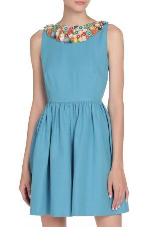 Платье с аппликацией из цветов Valentino Red. Цвет: голубой