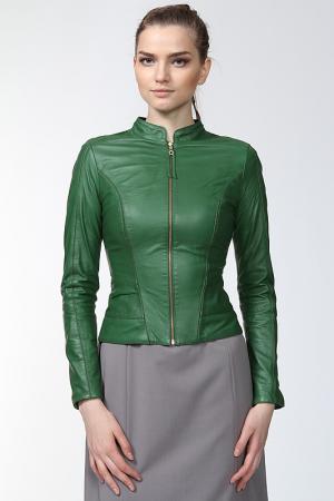 Куртка кожаная SUSSEX. Цвет: зеленый