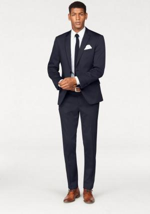 Костюм, 4 части: пиджак + брюки галстук платок Otto. Цвет: синий