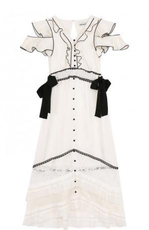Приталенное платье-миди с оборками и кружевной отделкой self-portrait. Цвет: белый