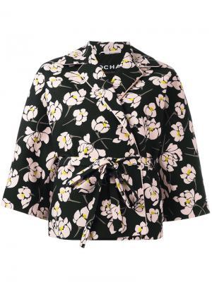 Пальто с цветочным принтом Rochas. Цвет: чёрный